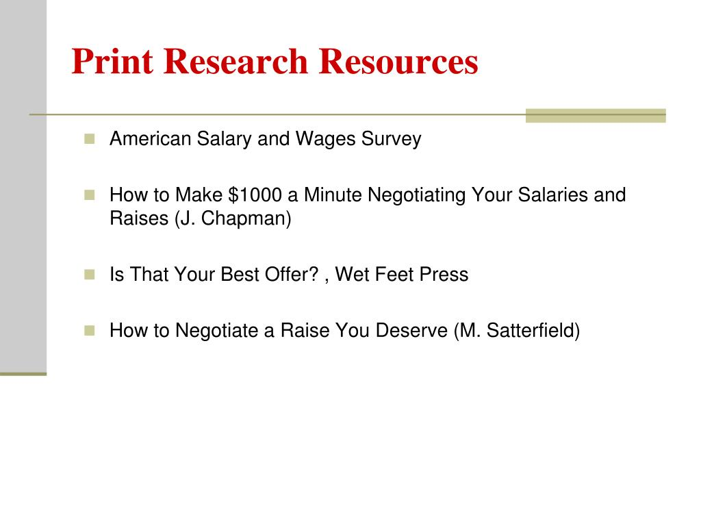 Print Research Resources