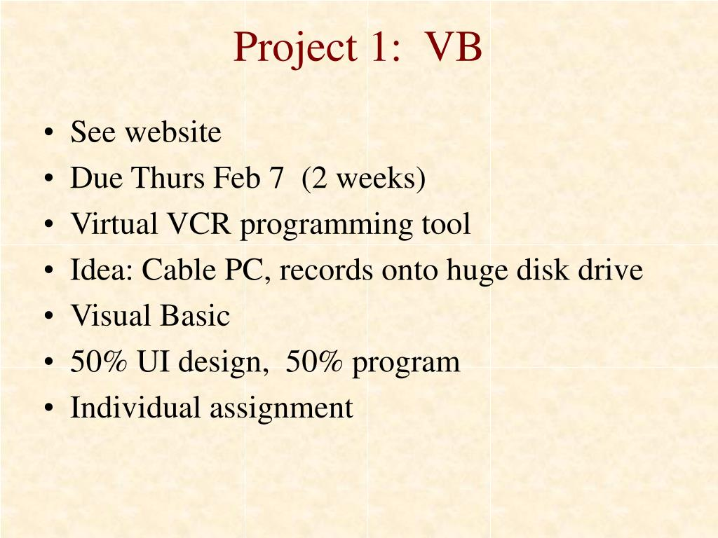 Project 1:  VB