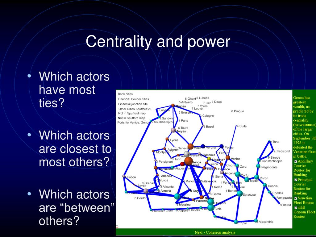Centrality and power
