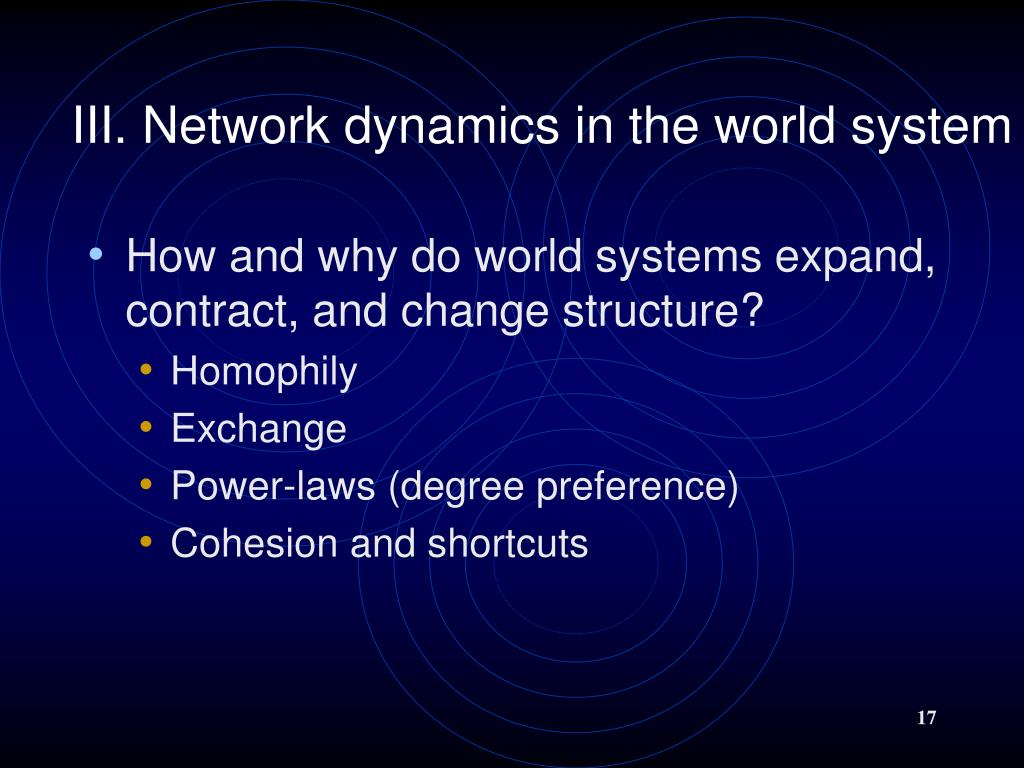 III. Network dynamics in the world system