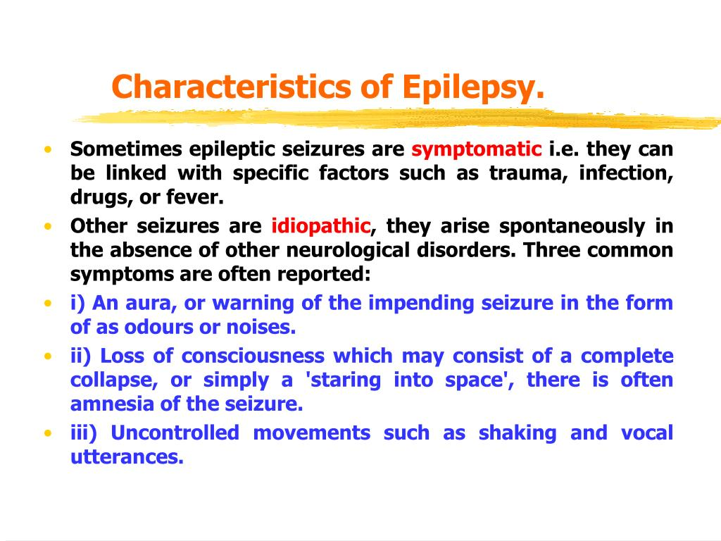 Characteristics of Epilepsy.