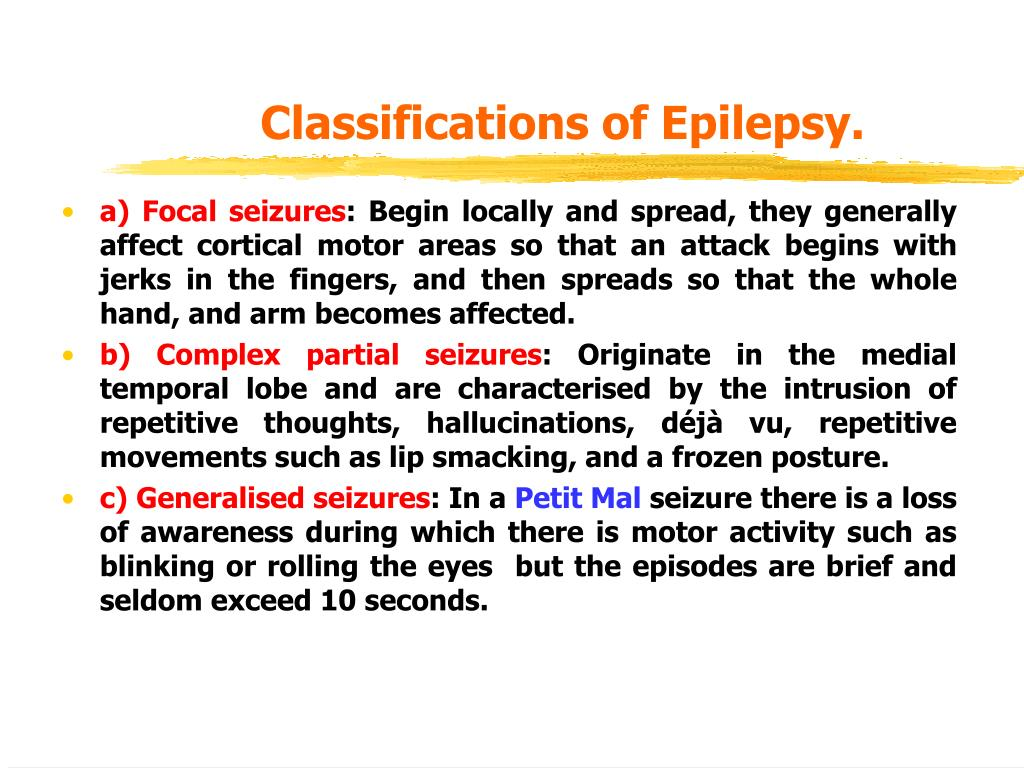 Classifications of Epilepsy.