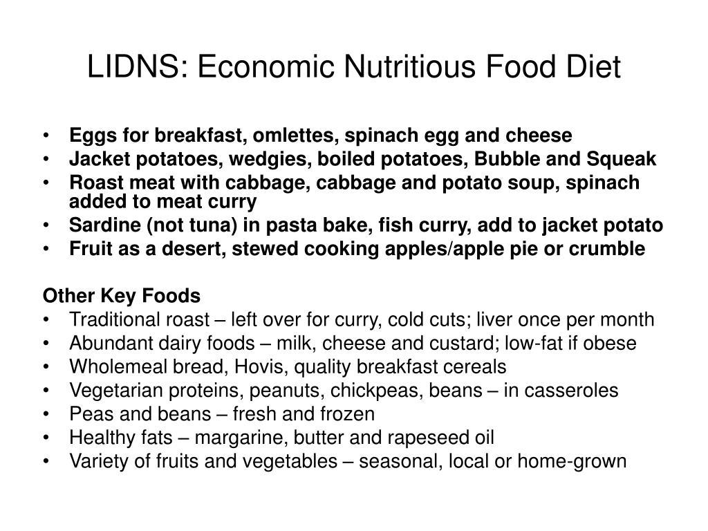 LIDNS: Economic Nutritious Food Diet
