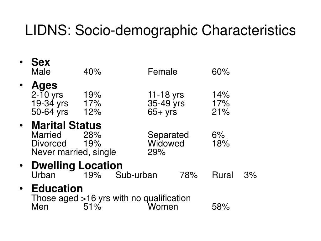 LIDNS: Socio-demographic Characteristics