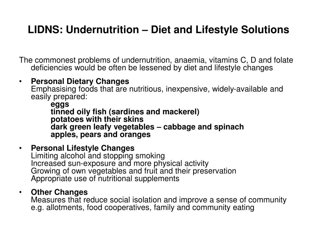 LIDNS: Undernutrition – Diet and Lifestyle Solutions