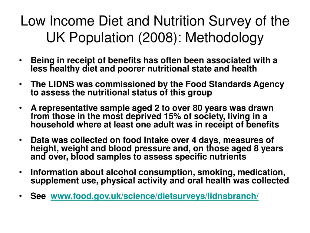 Low Income Diet and Nutrition Survey of the UK Population (2008): Methodology
