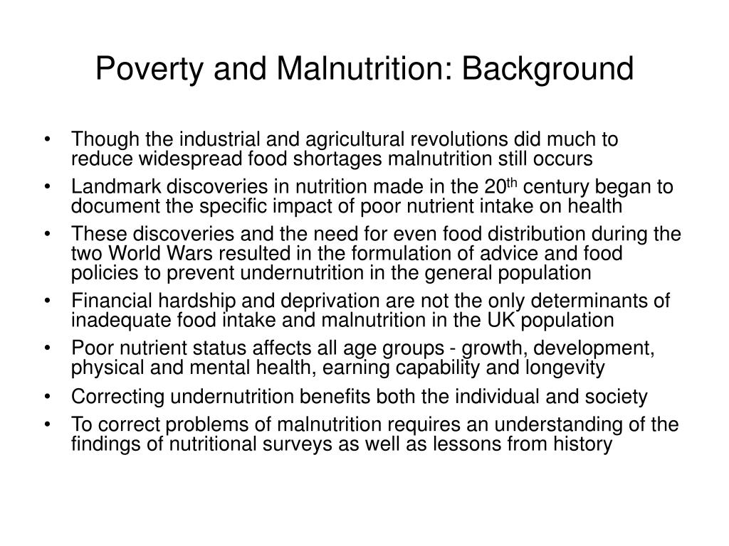 Poverty and Malnutrition: Background