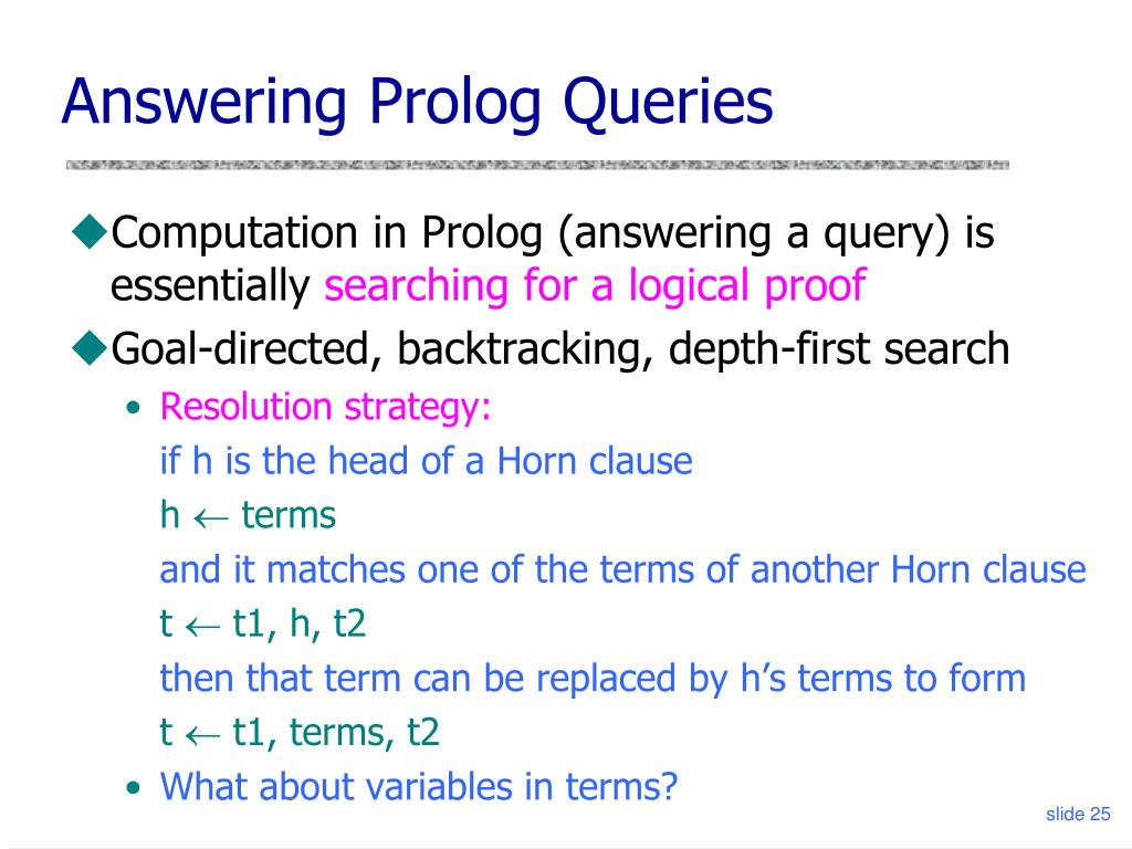 Answering Prolog Queries