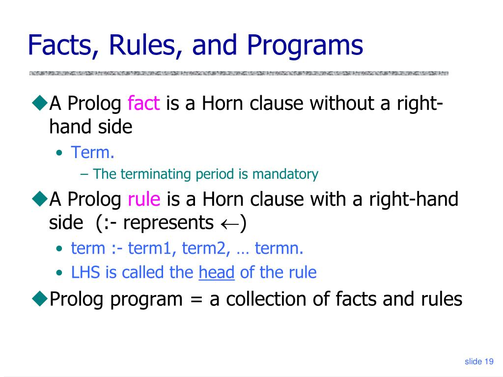 Facts, Rules, and Programs