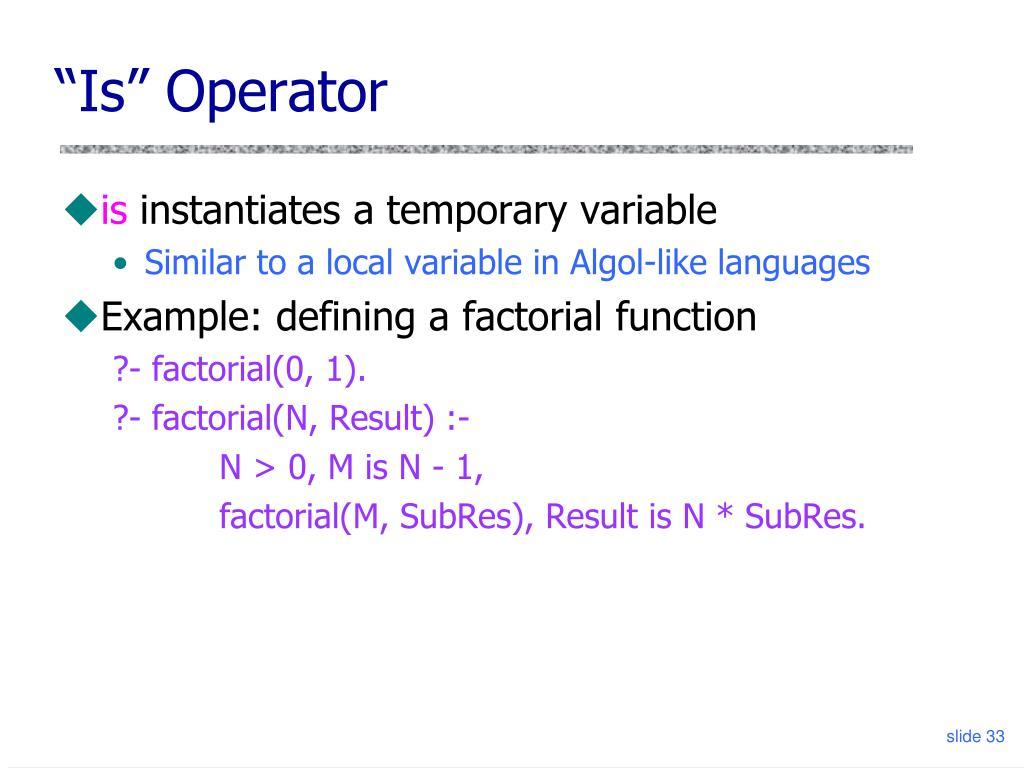 """Is"" Operator"