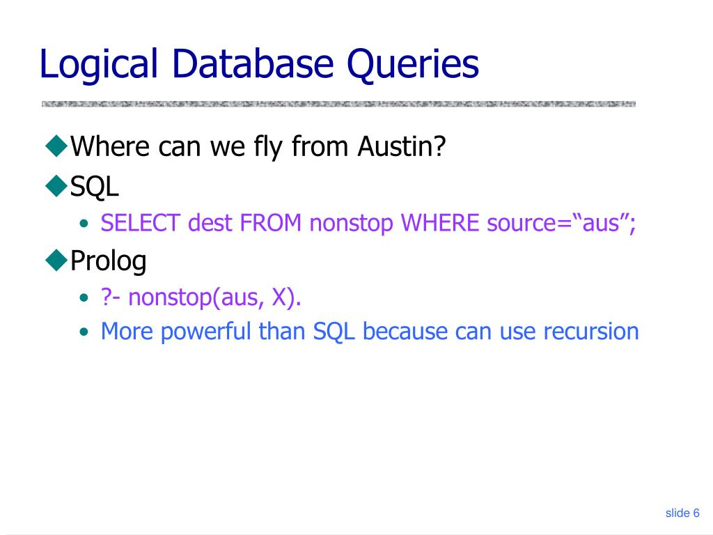 Logical Database Queries