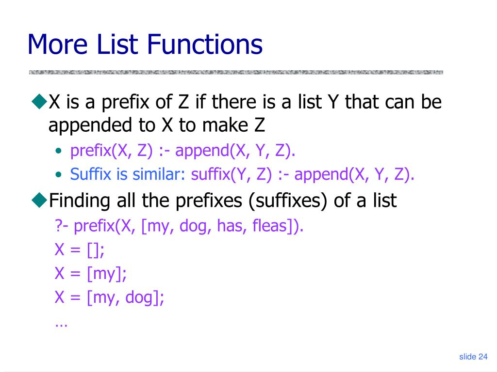 More List Functions