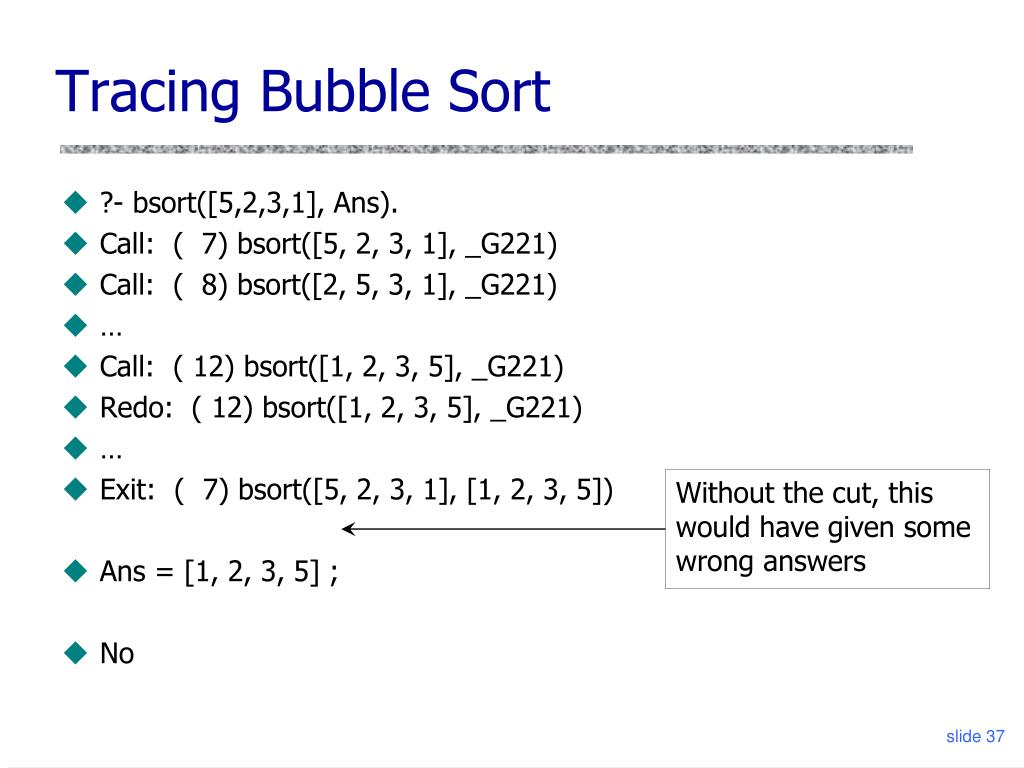 Tracing Bubble Sort