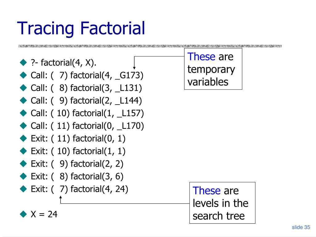Tracing Factorial