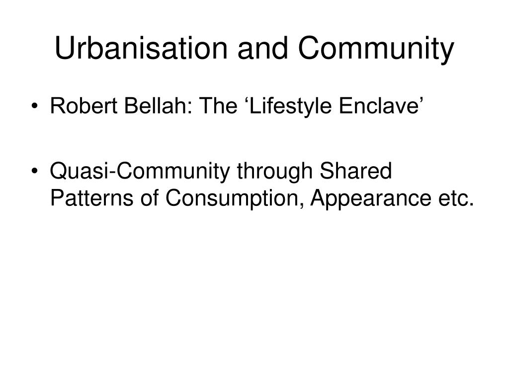 Urbanisation and Community