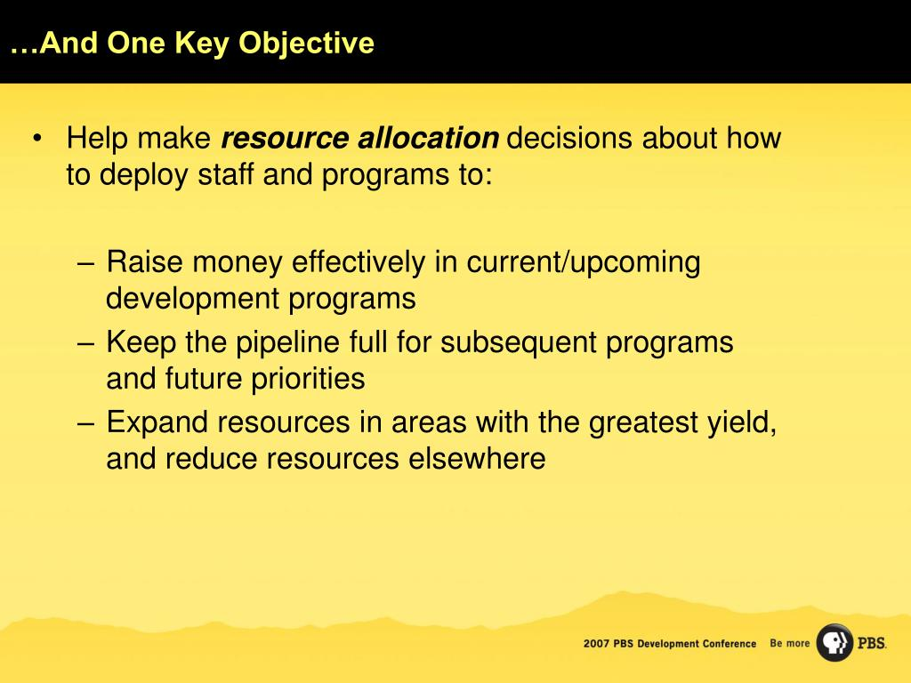 …And One Key Objective