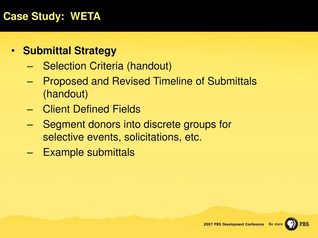 Case Study:  WETA