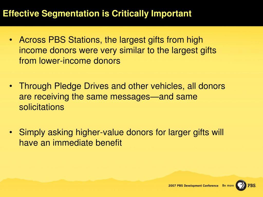 Effective Segmentation is Critically Important
