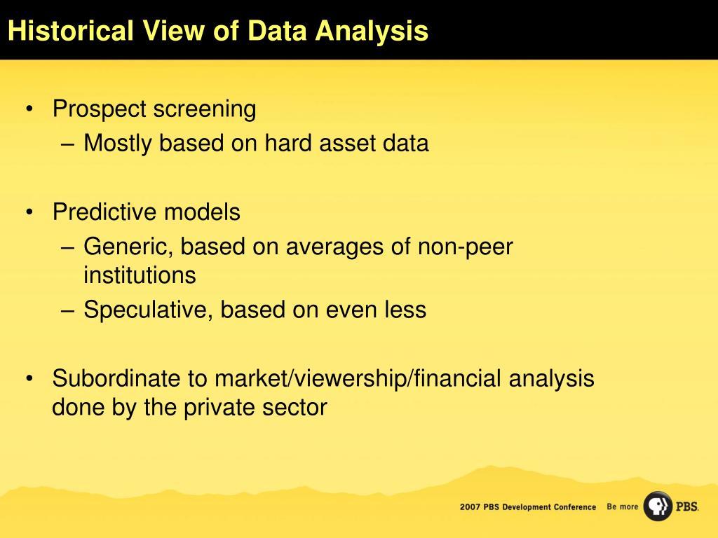 Historical View of Data Analysis