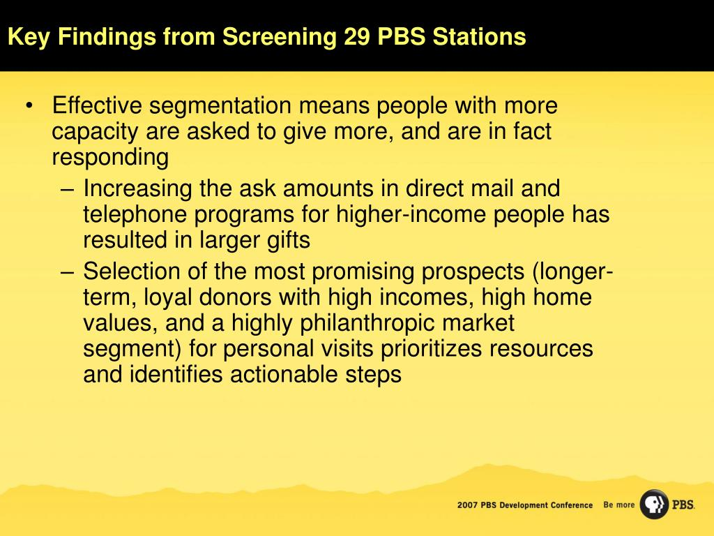Key Findings from Screening 29 PBS Stations