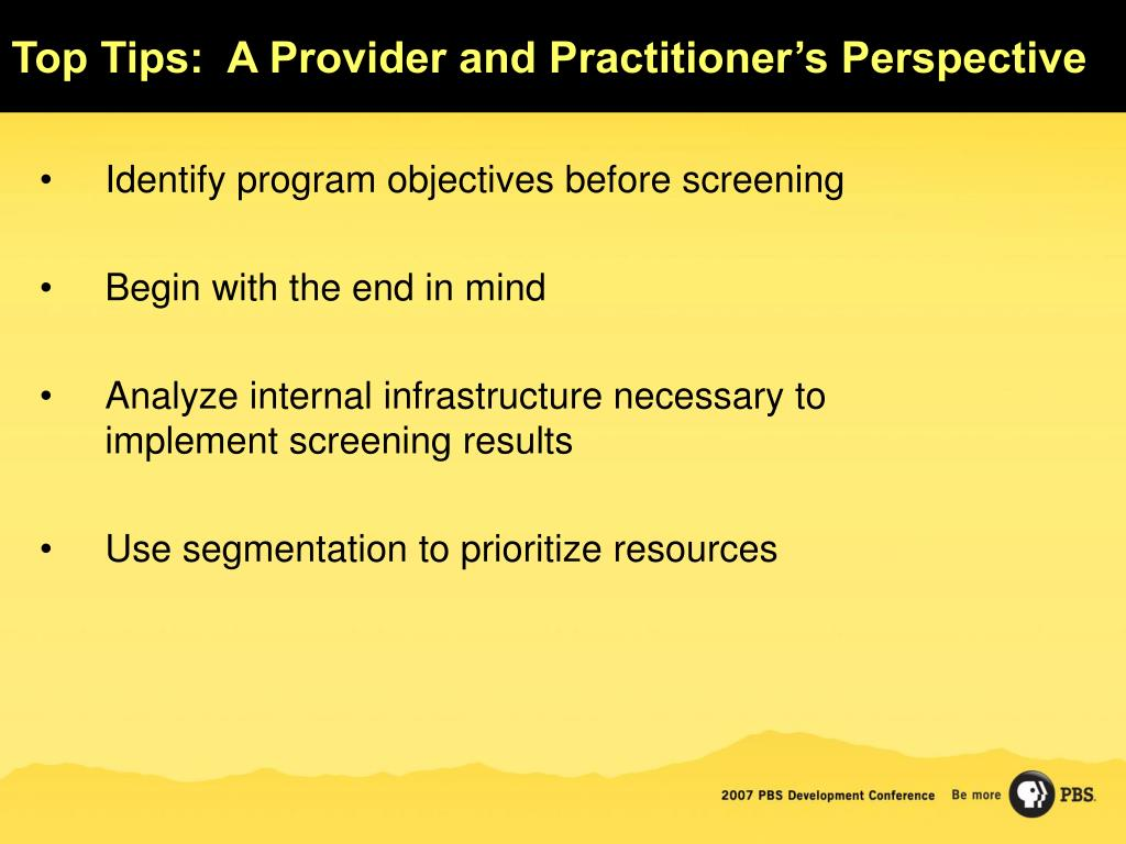 Top Tips:  A Provider and Practitioner's Perspective