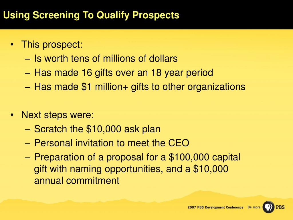 Using Screening To Qualify Prospects