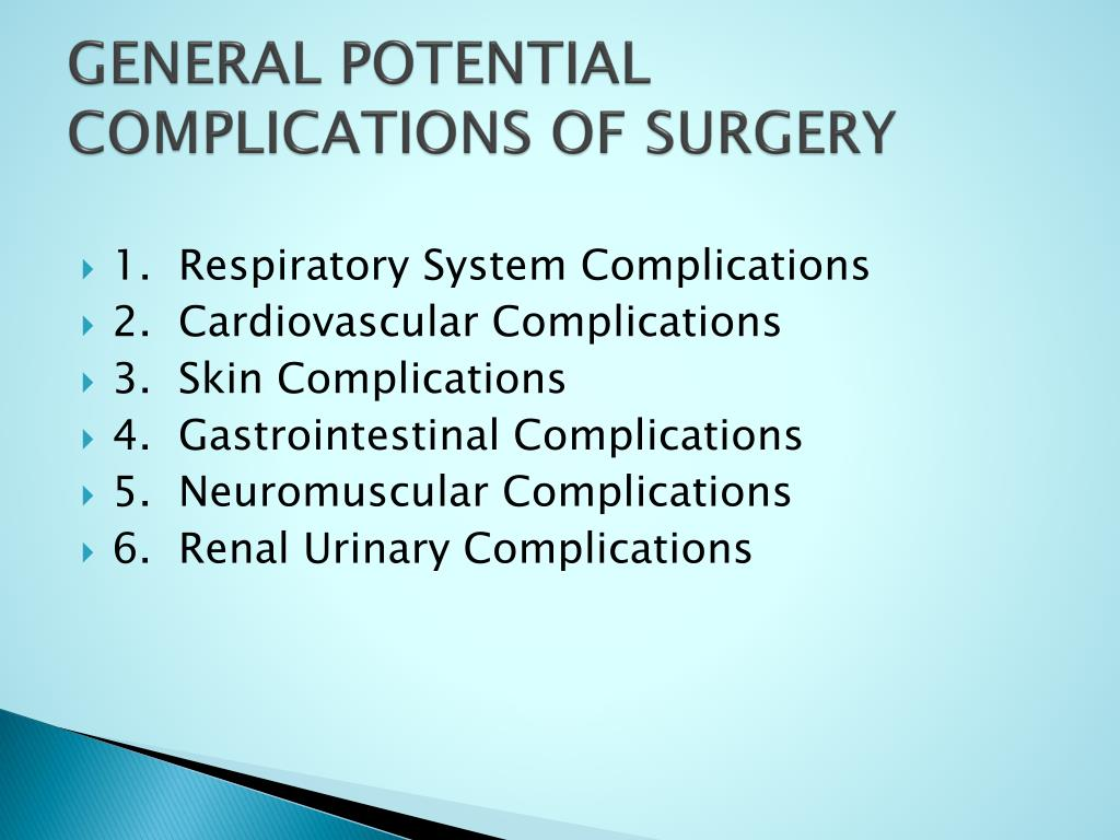 GENERAL POTENTIAL COMPLICATIONS OF SURGERY