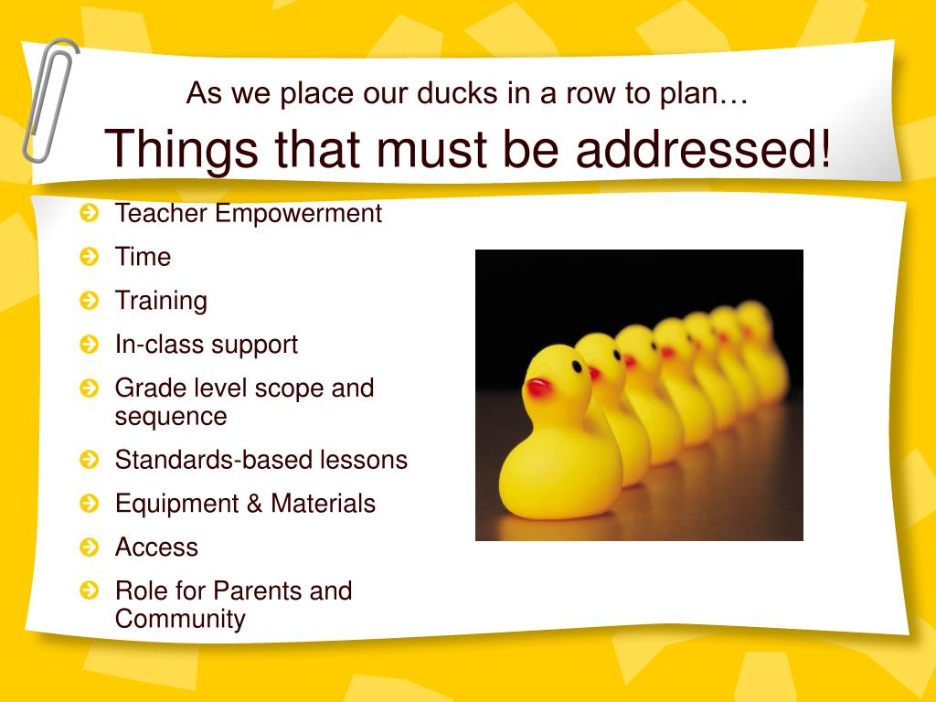 As we place our ducks in a row to plan…