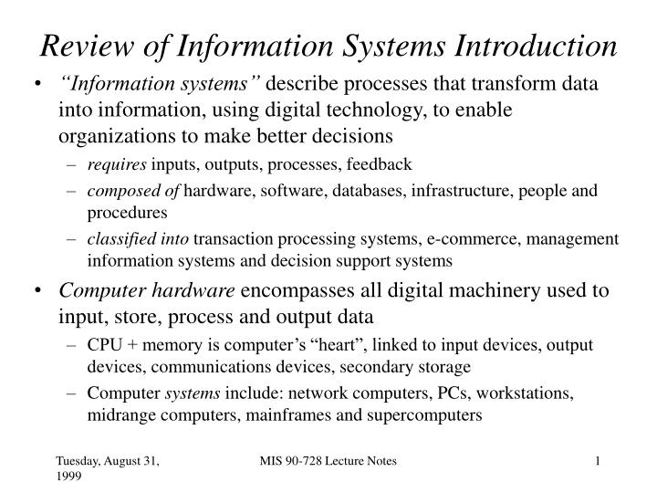 Review of information systems introduction