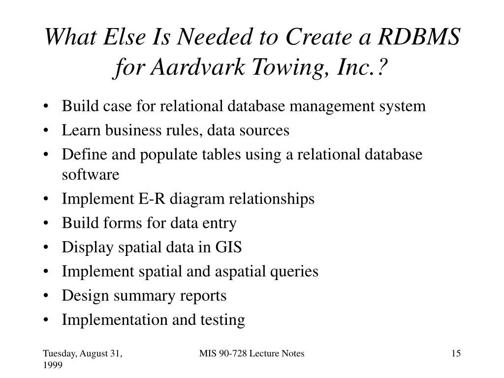 What Else Is Needed to Create a RDBMS for Aardvark Towing, Inc.?