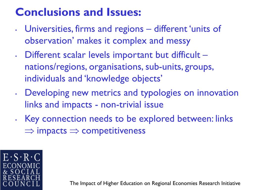 Conclusions and Issues: