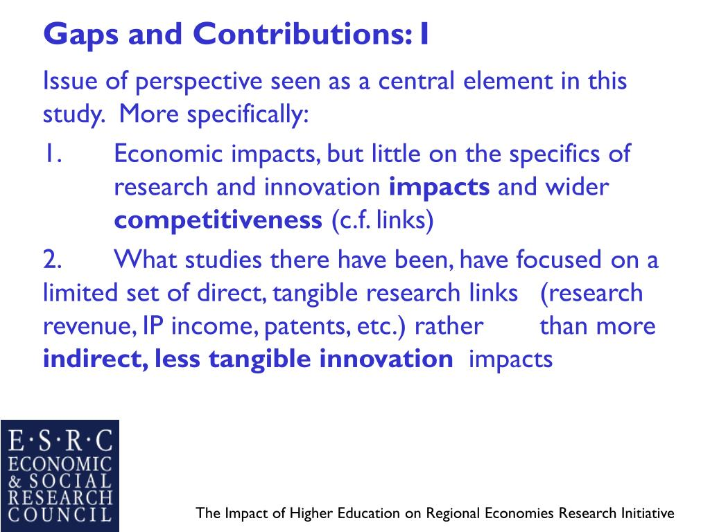 Gaps and Contributions: I