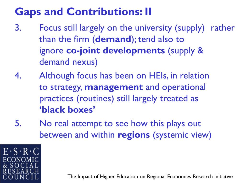 Gaps and Contributions: II