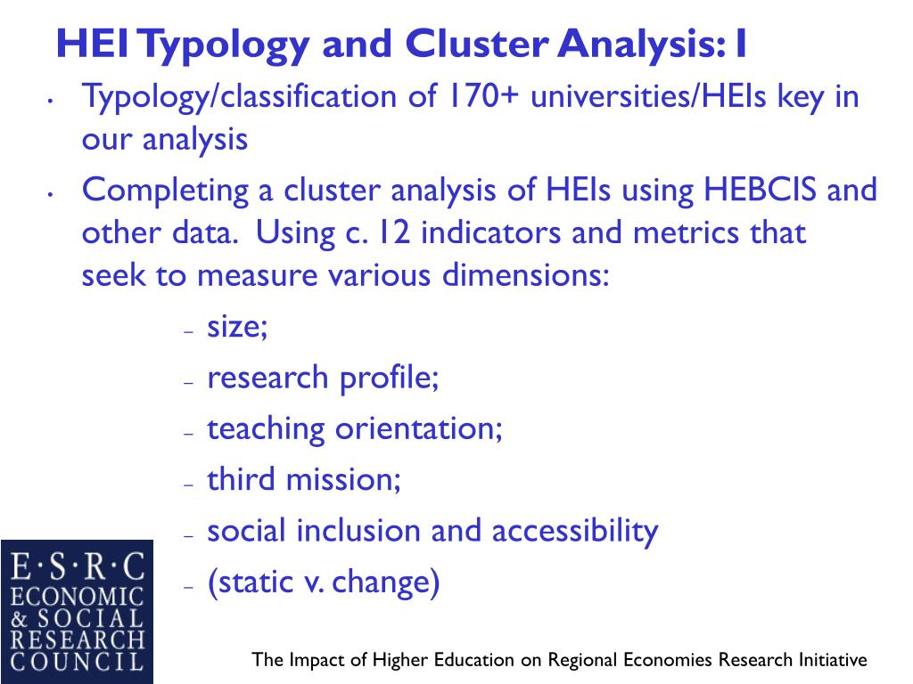 HEI Typology and Cluster Analysis: I
