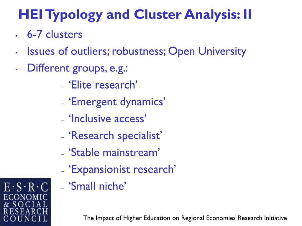 HEI Typology and Cluster Analysis: II