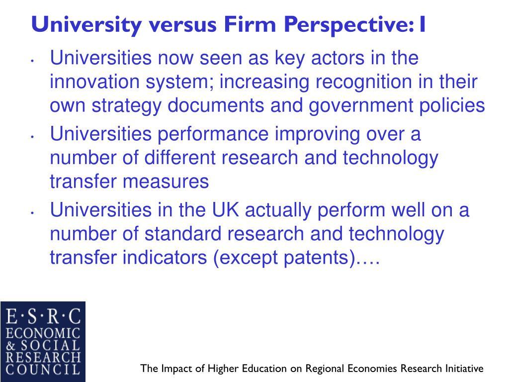 University versus Firm Perspective: I