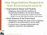 how organizations respond to their environments cont d