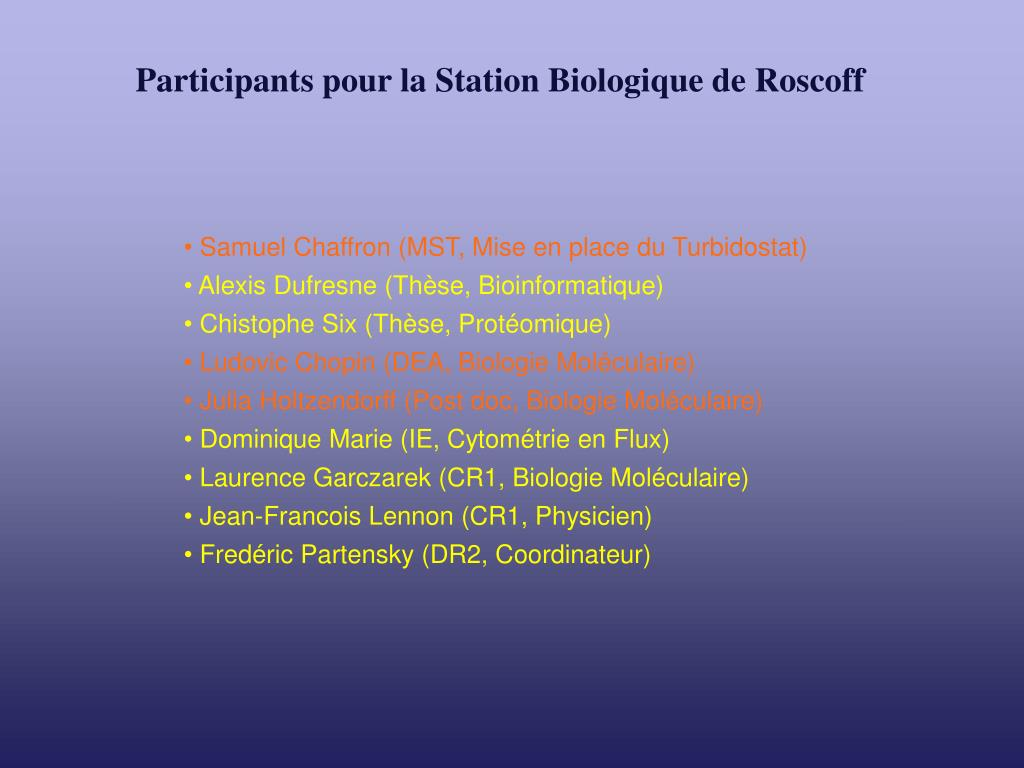 Participants pour la Station Biologique de Roscoff
