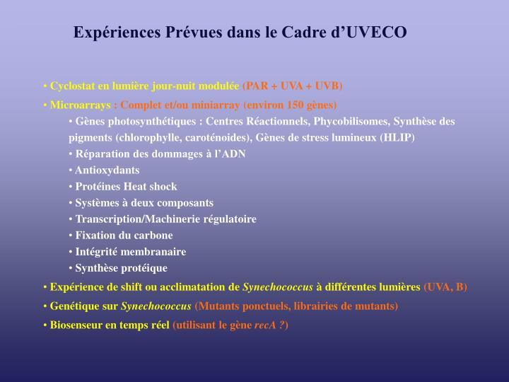 Expériences Prévues dans le Cadre d'UVECO