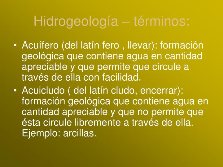 Hidrogeología – términos: