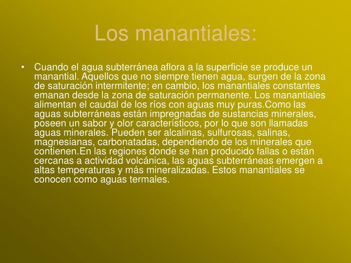 Los manantiales: