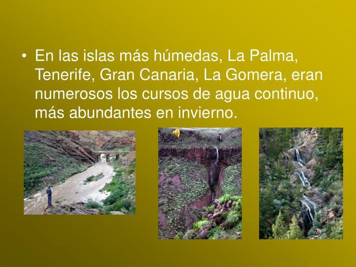 En las islas más húmedas, La Palma, Tenerife, Gran Canaria, La Gomera, eran numerosos los cursos de agua continuo, más abundantes en invierno.