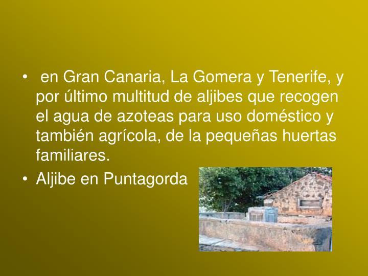 en Gran Canaria, La Gomera y Tenerife, y por último multitud de aljibes que recogen el agua de azoteas para uso doméstico y también agrícola, de la pequeñas huertas familiares.