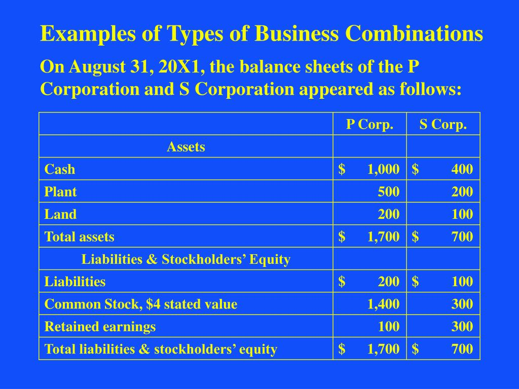 Examples of Types of Business Combinations