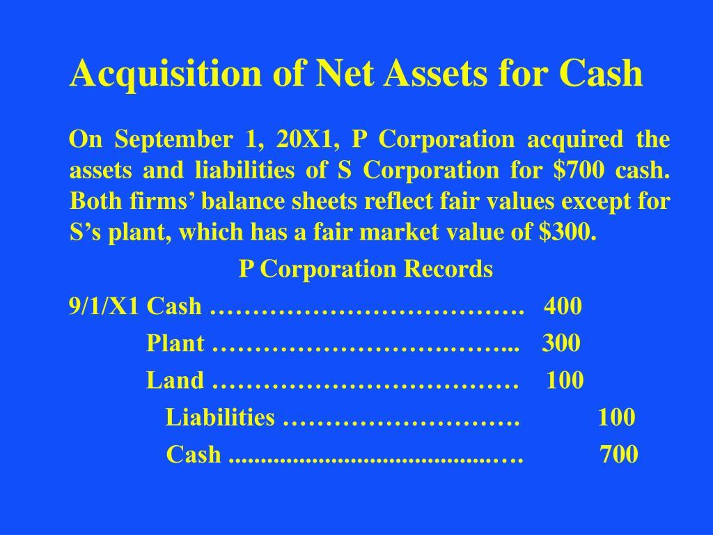 Acquisition of Net Assets for Cash