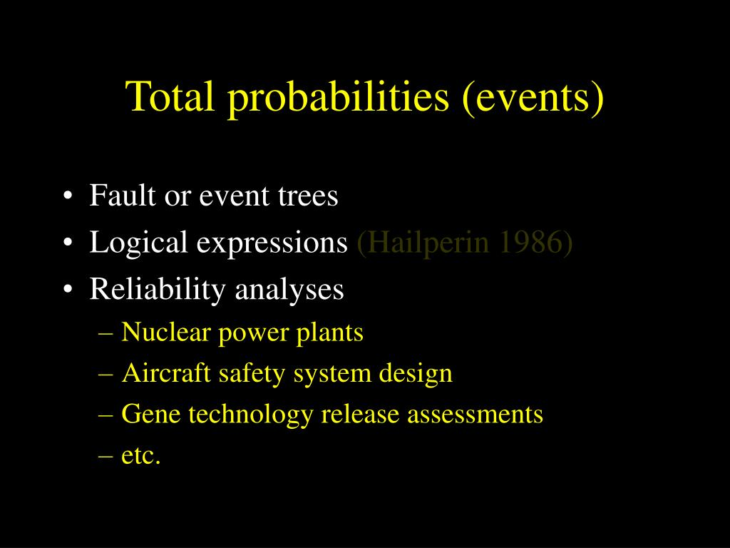 Total probabilities (events)