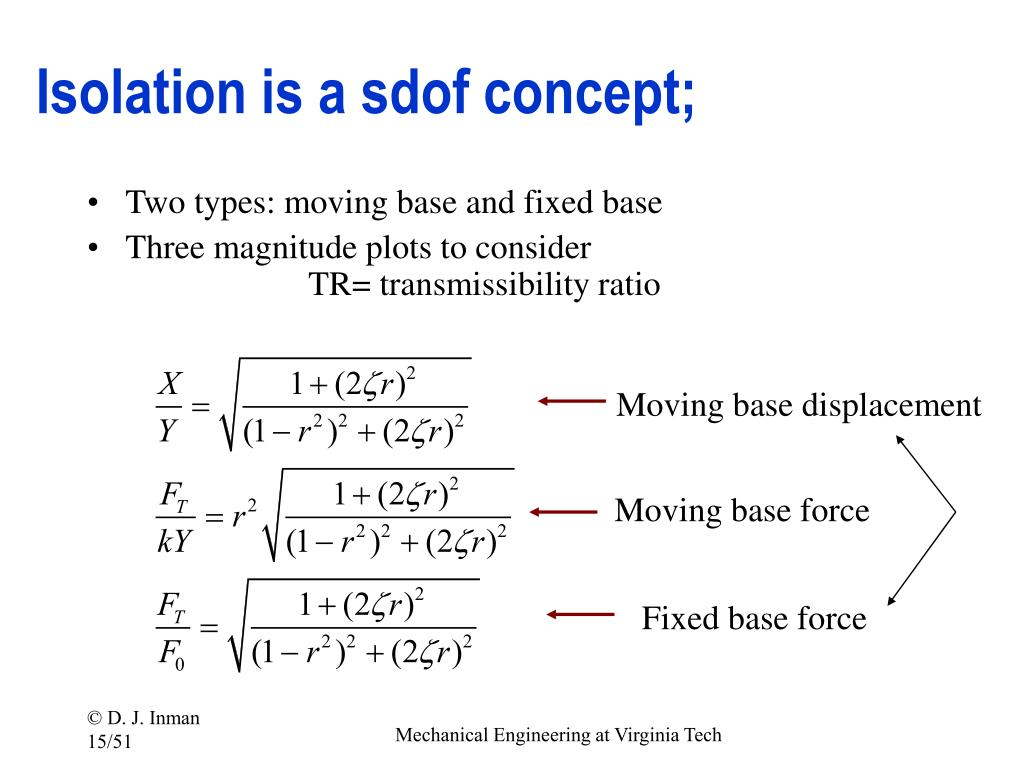 Isolation is a sdof concept;