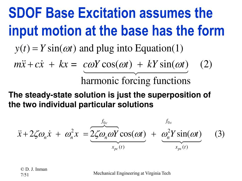 SDOF Base Excitation assumes the input motion at the base has the form
