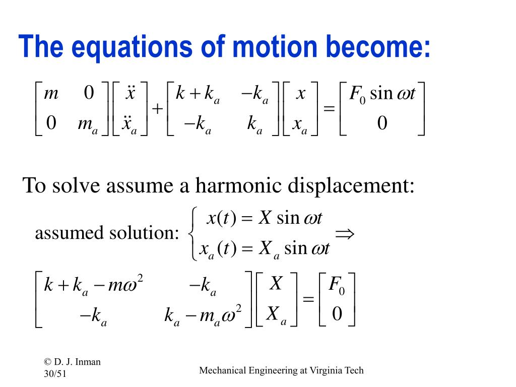 The equations of motion become: