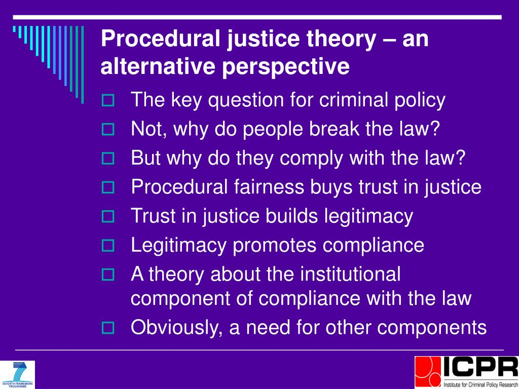 Procedural justice theory – an alternative perspective